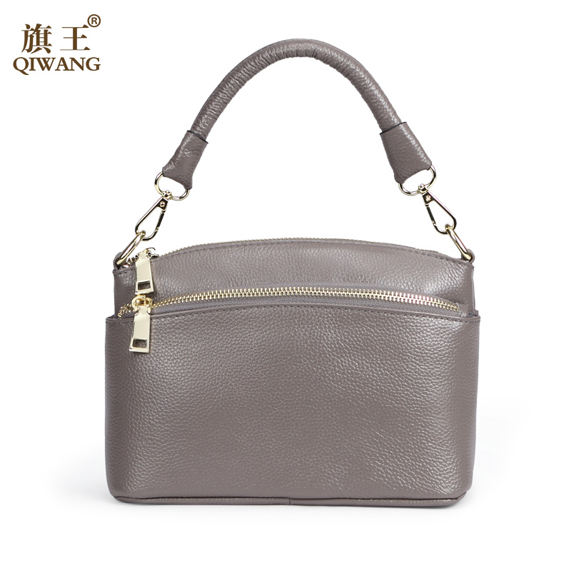 QIWANG 2017 Brand Fashion Woman Bag Small Shoulder Bag 100% Genuine Leather Small Shell Handbag with Adjust Shoulder Strap <br>