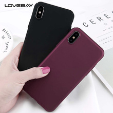 Lovebay Simple Plain Wine Red Frosted Case For iPhone X Matte PC Phone Back Cover For iPhoneX 5 5s SE Full Protect Cases Coque(China)