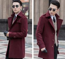 S-9XL ! 2016 men's clothing thermal winter overcoat slim outerwear medium-long cashmere overcoat male trench outerwear plus size(China)