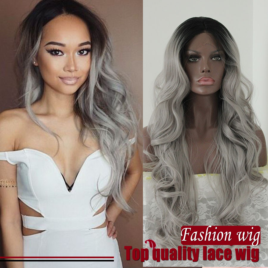Premium Body Wave Ombre Silver Grey Synthetic Lace Front Wig Glueless Two Tone Black/Grey Heat Resistant Hair Wigs For Women<br><br>Aliexpress