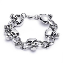 Simple Gothic Jewelry Vintage Biker Punk Men Bracelets Stainless Steel Chain Wrist Skulls Male Hand Bracelet 2017