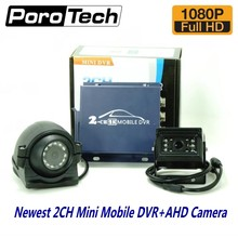 2ch mini AHD dvr car Mobile DVR Kits with 1080P AHD Cameras Realtime 2 Channel Video/Audio Vehicle DVR support dual-SD card slot(China)