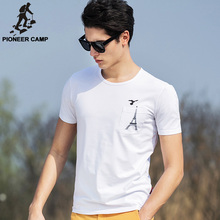 Pioneer Camp 2017 summer short t-shirt men fitness t shirt mens casual clothing lycra white t-shirt Eiffel Tower 620029