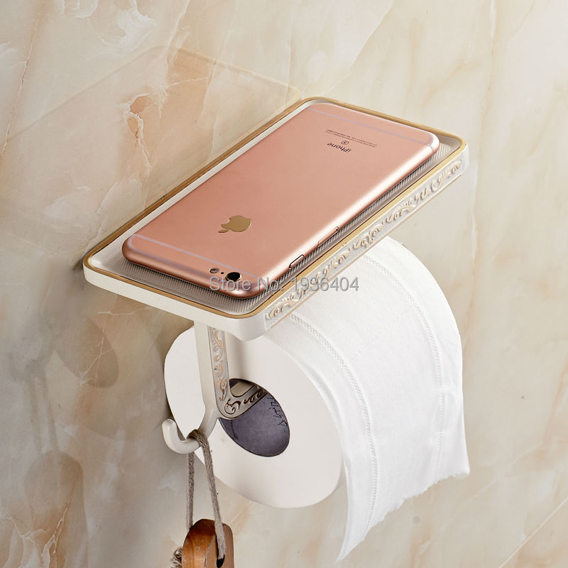 Free Shipping New Arrival Toilet Paper Holder White Painted Phone Rack Wall Mounted Paper Holder with Hook PH221<br><br>Aliexpress