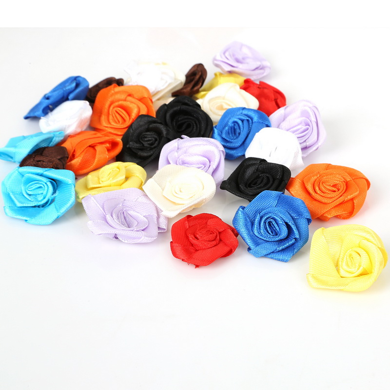 Wholesale 100Pcs 3cm Handmade Satin Ribbon Rosette Flower Bow for Scrapbooking Wedding Appliques Craft Accessories(China)