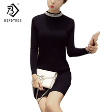 Elegance 2018 Autumn Spring Women Long Sleeves Diamonds White Pink Black Dresses Fashion Beading Knitted Sweater Dresses D7D211L(China)