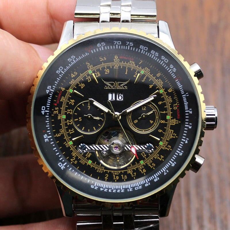 2015 JARAGAR Luxury Watch Men Day/Month Flywheel Mechanical Watches Stell Mens Watch Wristwatch Free ship Q54<br><br>Aliexpress