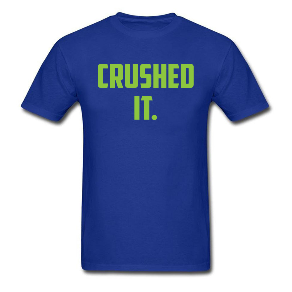 Crushed It Summer T-Shirt for Men Pure Cotton Labor Day Tops Tees Print Tee Shirt Short Sleeve Retro Round Neck Crushed It blue