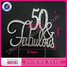 Free Shipping! 50th Fabulous Clear Sliver Rhinestone Cake Topper,Fabulous Wedding Rhinestone Cake Topper,Anniversary Party