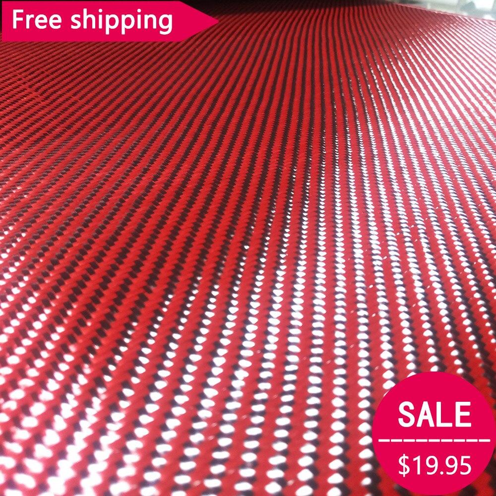 30cmx100cm Durable Carbon Fiber Black Red Mixed Cloth Fabric Twill Aramid 200gsm