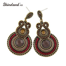 Antique Jewelry 2017 New Fashion Party Dresses Bohemia Style Enamel Beads Statement Drop Earrings Vintage Jewelry for Women(China)