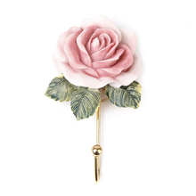 2pcs Lovely Rose Decor Wall Mounted Rose Flower Hat Coat Robe Hook Door Clothes Bathroom Towel Hanger
