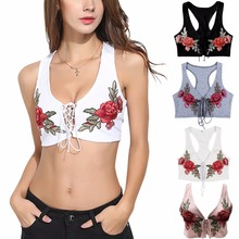New arrival 4 colors rose embroidery bikini top crochet knitted cross bandage tankini cropped top V neck swimwear dropshipping(China)