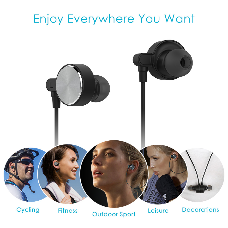 Smart Magnetic Bluetooth Earphone, CRDC Slim Wireless Headphones IPX6 Sweatproof Sport Headset with Mic For Xiaomi xiomi iPhone