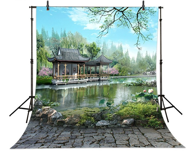 Garden Lake Scenic  backdrops  High-grade Vinyl cloth Computer printed Lake  background<br><br>Aliexpress