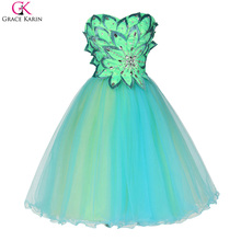 Grace Karin Cocktail Dresses 2017 Sweetheart Backless Prom Dress Party Dress Knee Length Turquoise Robe De Cocktail Gowns(China)