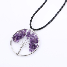 Silver Color Life Tree Pendant Necklace Natural Crystal Semi Precious Stone Pink Purple Blue Charm Women Choker Jewelry