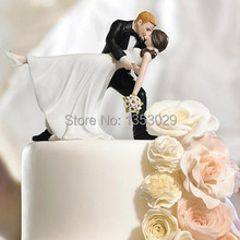 A Romantic Dip Dancing Tango dancing couple figurine wedding cake toppers creative decorating tools bride &grooms(China)