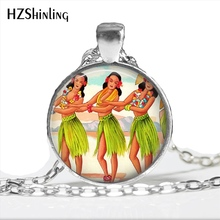 2017 New Arrival Hula Girl Necklace Handmade Hawaii Tropical Island Kitschy Jewelry Glass Dome Hawaiian Art Pendant HZ1(China)