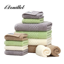 iDouillet 900 GSM Long-Staple Combed Cotton Textured Bathroom 3-Piece Towel Set 1 Bath 2 Hand Towels  Green Cream Grey Latte