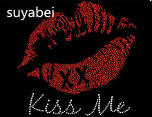 2pc/lot kiss me red lip design applique hot fix rhinestone transfer motifs iron on crystal transfers design hot fix iron on(China)
