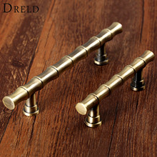 DRELD Antique Brass Furniture Handle Vintage Retro Bamboo Drawer Closet Cabinet Knobs and Handles Furniture Pull Knob 64mm/96mm
