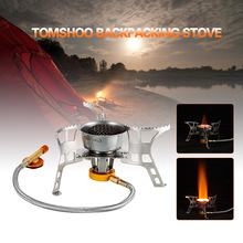 TOMSHOO Foldable Windproof Canister Stove Burners Camping Outdoor Cooking Backpacking Hiking Stove Butane Canister Compatible