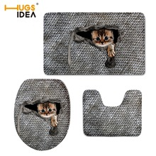HUGSIDEA 3D Cute Animal Cat Owl Printed Toilet Lid Pad Non-slip Floor Carpet for Bathroom 3PCS Set Soft Area Rugs Home Decor Mat