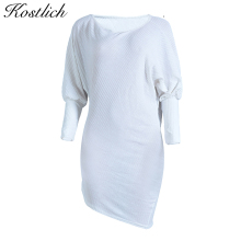 Kostlich Autumn Dress 2017 Sexy Women Long Sleeve O-Neck Mini Dresses Or One Shoulder Sexy Club Wear Plus Size Dress Clothing