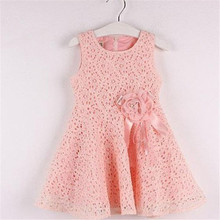 2016 New Arrival Girl Princess Dress O neck Sleeveless Flower Detail Hollow out Design Girl Dress 2-5Y