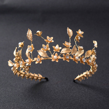 Baroque Gold Leaves Bridal Tiara Pearl Soft Bridal Crowns wedding Hair Jewelry Headbands Women Headpiece Prom Hair Accessories