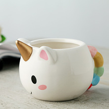 Cartoon Unicorn Mug 3D 300ml Rainbow Ceramic Coffee Cup Children Girl Creative Cute Cups Magichome Cartoon Unicorn Cups(China)