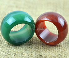 Beautiful 2pcs Red and Green Pair 20mm Wide Woman Man's Natural Real Jade Ring Thump Lucky Large Rings 20mm Inner Diameter
