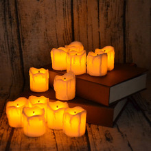 Amazing Shining Amber Light LED Flameless Tea Light Candle with Wonderful Decorative Effect for Bars Restaurant(China)