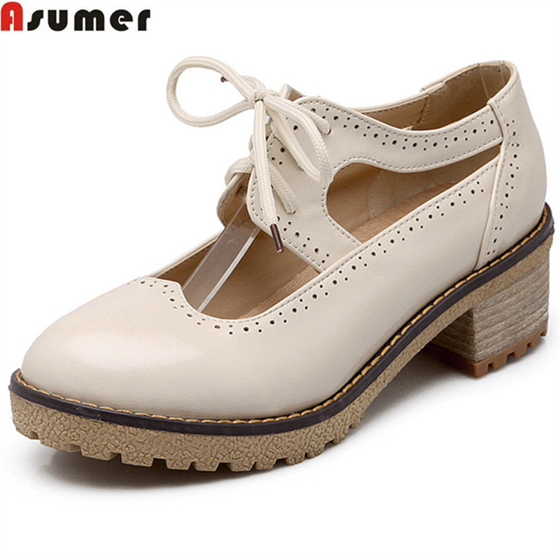 ASUMER 2017  hot sale newarrive women pumps fashion lace up square hhel shoes solid color spring autumn med heels shoes<br>