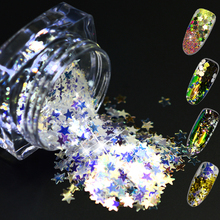 1 Bottle 3g New Rainbow Holographic Nail Art Glitter Powder Shapes Star/Flowers Design Laser Nail Decoration Tip TRSZ01-04