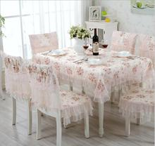 Pink color Pastoral Cotton & Linen Table Cloth Flower Printed Rectangular Table Cover Lace Edge Tablecloth for Wedding Hot Sale
