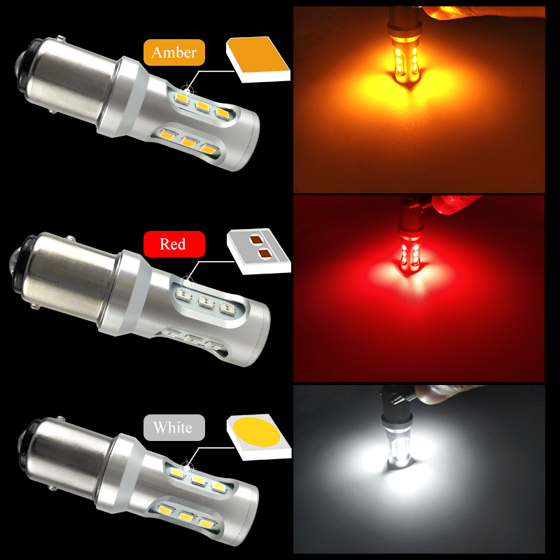 CNSUNNYLIGHT Car LED Stop Light Canbus 1157 P21 5W BAY15d S25 3030 9SMD Car Brake Reverse Lamp Rear Fog Parking Bulbs No Error (1)