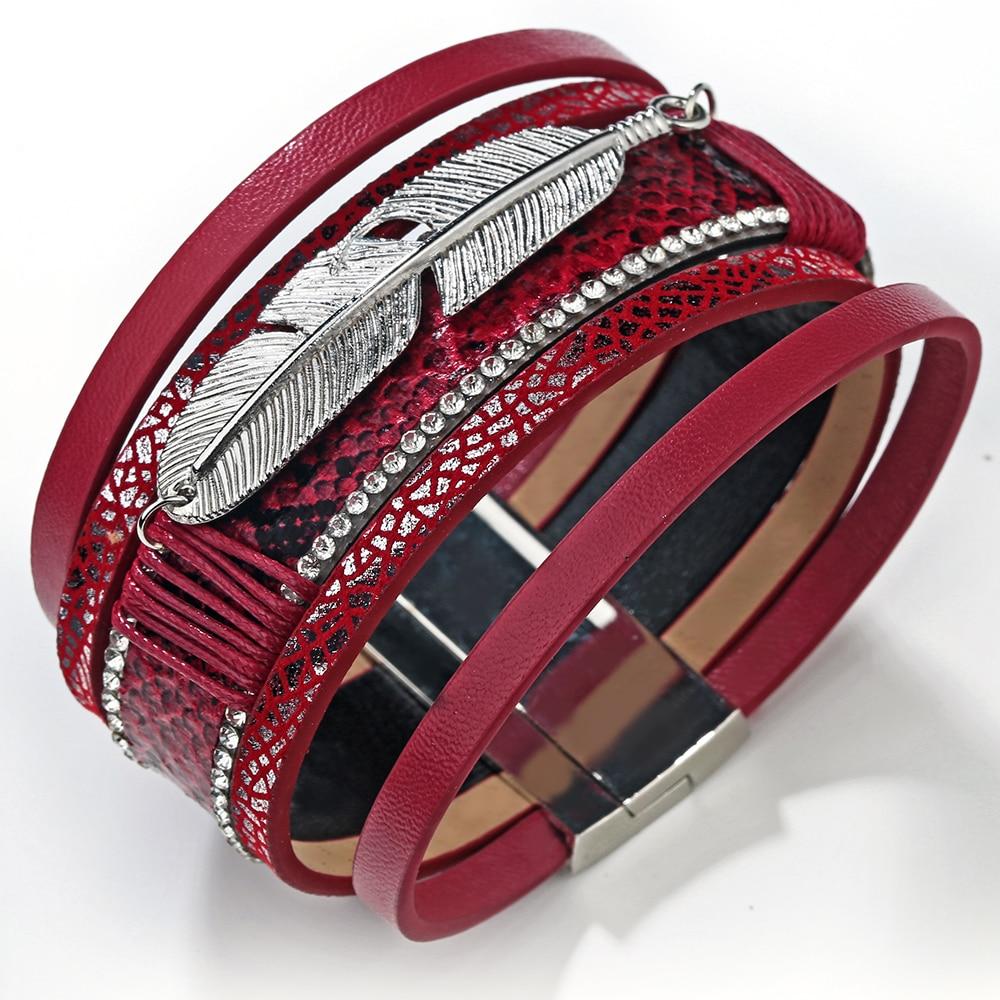19 Fashion Alloy Feather Leaf Wide Magnetic Leather Bracelets & Bangles Multilayer Wrap Bracelets for Women Men Jewelry 14