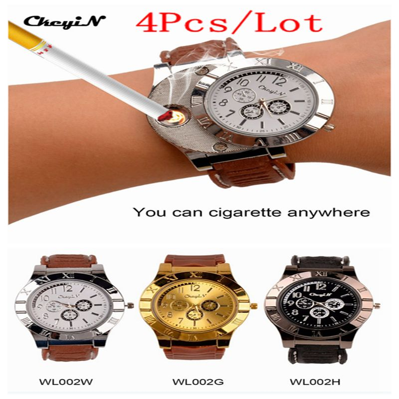 4Pcs Quartz Watch with USB Electronic Rechargeable Windproof Flameless Cigarette Lighter Watches 2 In 1 Mens Wristwatch 3334<br>
