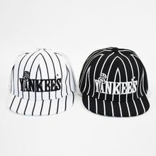 HAPPYTAIL Fashion Boys Striped Yankees Baseball Cap Letter Embroiederd Snapback Caps for Girls Cool Hip Hop Cap for Children(China)