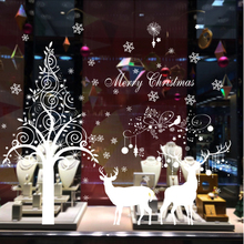 Christmas Tree Reindeer Large Wall Stickers For Window Glass DIY Snowflake Wall Decal Home Decor Poster Adornos Navidad For Home
