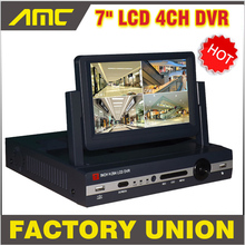 7 inch LCD Monitor DVR 4 channel D1 stand alone cctv dvr 4CH DVR recorder video surveillance cctv system(China)