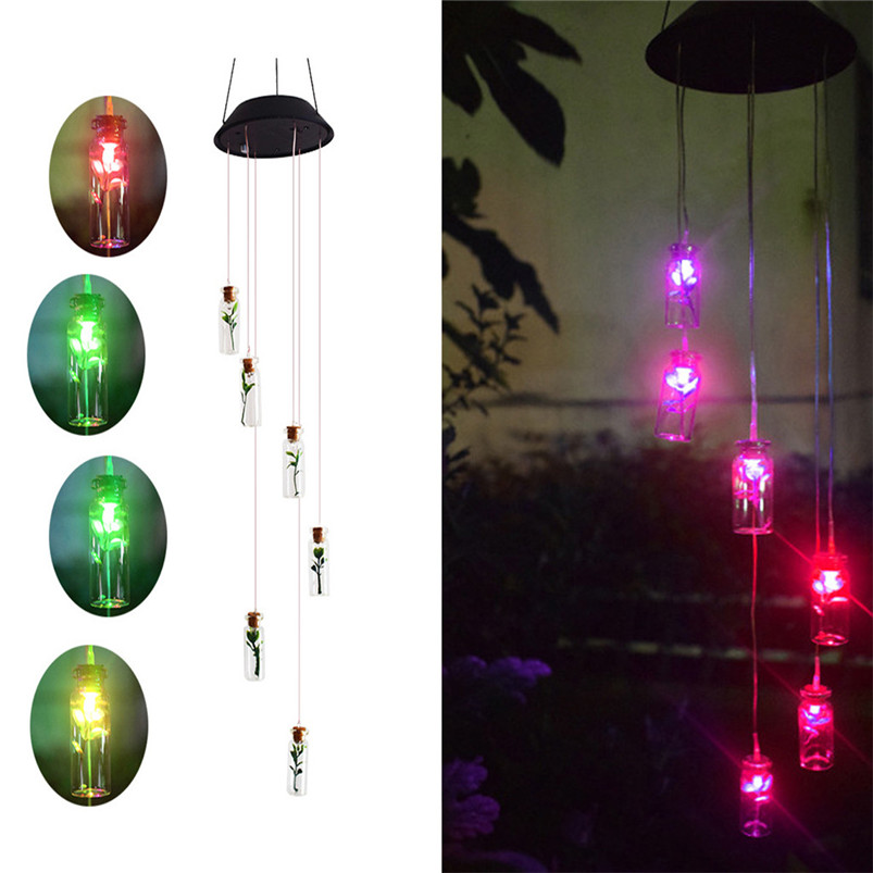 Solar Color-Changing Wind Chime Light LED Garden Hanging Spinner Lamp Color Changing Wind Chime Light Luces 40JUN256
