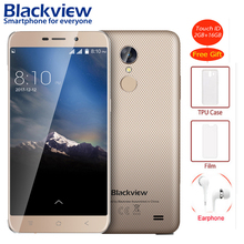 Blackview A10 Unibody smartphone 5.0 inch HD 2GB RAM 16GB ROM Android 7.0 MT6580A Quad Core Back Fingerprint 5MP 3G Mobile phone(China)