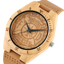 YISUYA Casual Bamboo Wooden Watches Men Cool Fire Fighter Nature Wood Quartz Creative Watches Men's Wooden Wrist Watch Best Gift(China)