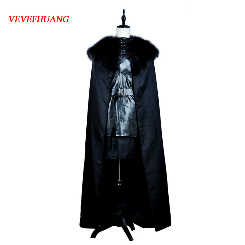 VEVEFHUANG American TV Series Game of Thrones Cosplay Costume Jon Snow Cosplay Knight Role Play Costume Halloween