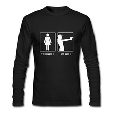 Gun Your Wife And My Wife T Shirts Men Fashion Personality Long Sleeve Mens tshirt Camisetas O Neck Euro Size Man Tops Tee(China)