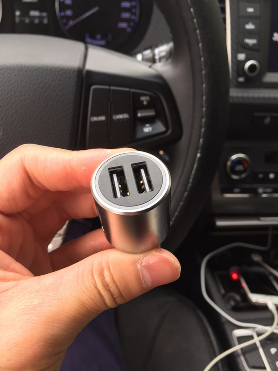 Original Xiaomi Car Charger QC3.0 X2 Full Metal Dual USB Smart Control Quick Charge 3A 36W with Extension Port (24)