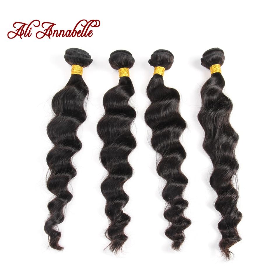 Ali Annabelle Human Hair Weave Brazilian Loose  Wave Virgin Hair 4 Bundles 8A Raw Unprocessed Brazilian Virgin Hair Loose Deep<br><br>Aliexpress